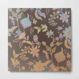 Chateau Brown Chinoiserie Decorative Floral Motif Chintz Metal Print