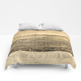 Bird's Eye View of San Jose, California (1869) Comforters