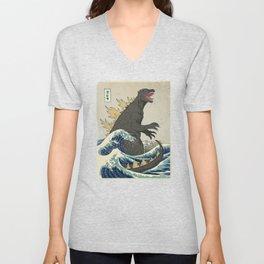 The Great Godzilla off Kanagawa Unisex V-Neck