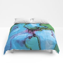 Blue cian abstract Comforters
