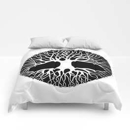 black and white tree of life with tangled roots and branches I Comforters
