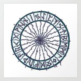 Elder Futhark Rune Wheel Art Print