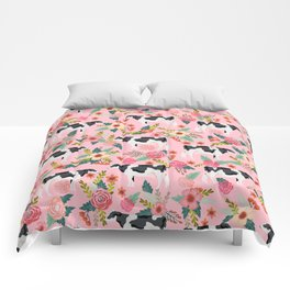 Holstein cattle farm animal cow floral Comforters