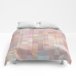 geometric square pixel pattern abstract in pink and blue Comforters