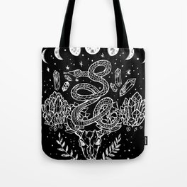 Gothic Snakes And Crystals Moon Phases Tote Bag
