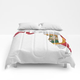 Florida Typographic Flag Map Art Comforters