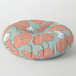 Dreamy Day - Poppies and Bunnies Pattern Floor Pillow