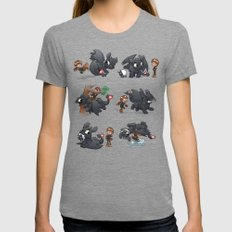 How Not to Train Your Dragon SMALL Tri-Grey Womens Fitted Tee