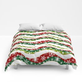 Christmas waves and snowflakes Comforters