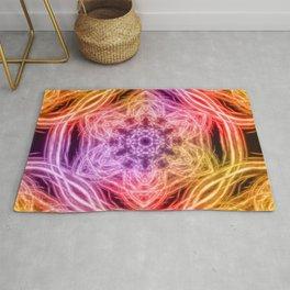 glowing rainbow kaleidoscopes Rug