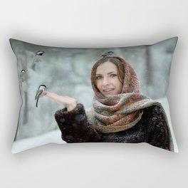 Small titmouse bird in women's hand Rectangular Pillow