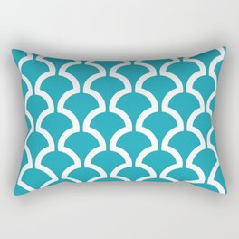 Classic Fan or Scallop Pattern 456 Turquoise Rectangular Pillow