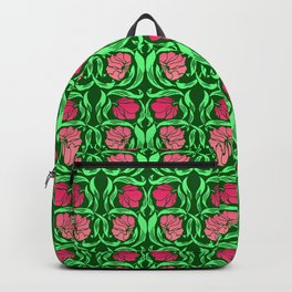 William Morris Pimpernel, Coral Pink and Green Backpack