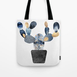 Blue & Gold Cactus Tote Bag