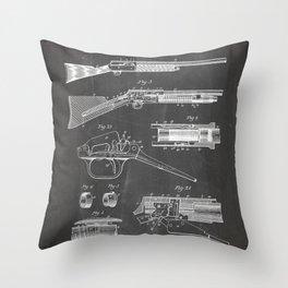 Automatic Rifle Patent - Browning Rifle Art - Black Chalkboard Throw Pillow