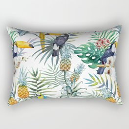 Tropical Pattern Toucans Parrots Pineapples Rectangular Pillow