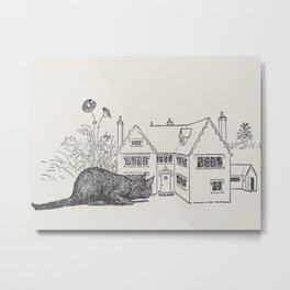 Johnny Crow's garden a picture book - L. Leslie Brooke - 1903 vintage Line Drawing Cat House Metal Print