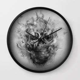 Flaming Skull Wall Clock