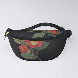 Camellia Japonica Mary Delany Delicate Paper Flower Collage Black Background Floral Botanical Fanny Pack