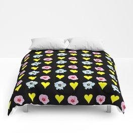 hearts and flowers -bloom,blossom,petal,floral,leaves,flor,garden,nature,plant. Comforters