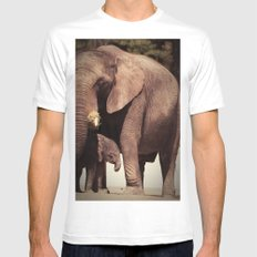 Elephants, mother and child Mens Fitted Tee White MEDIUM