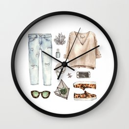 watercolor sketch. fashion outfit, casual style. Wall Clock