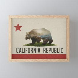 California Grizzly Bear Flag Framed Mini Art Print