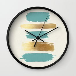Brush Strokes (Teal/Gold) Wall Clock