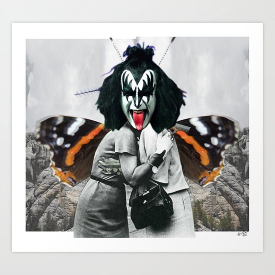 The last Kiss Collage Art Print