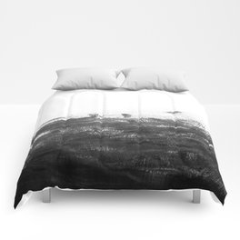 Durand - black and white minimal painting india ink brushstrokes abstract art canvas for home decor Comforters