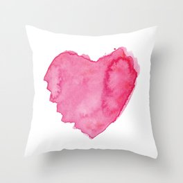 Watercolor Heart. Red pink home decor. Simple design. Throw Pillow