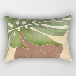 Woman with Monstera Leaf Rectangular Pillow