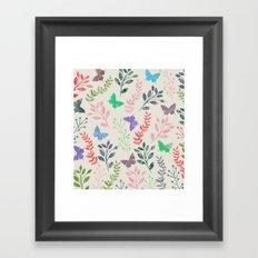 Watercolor flowers & butterflies Framed Art Print