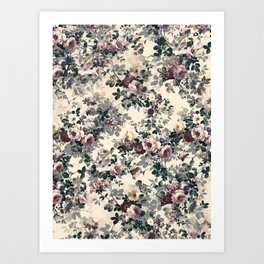 Vintage Flowers -pattern Art Print