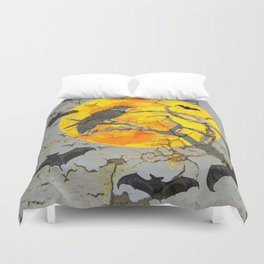 HALLOWEEN NIGHT BATS & RAVEN GOLDEN  MOON Duvet Cover