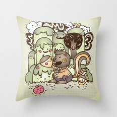 Happy Squirrel Throw Pillow