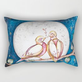 Doves and the Full Moon Rectangular Pillow