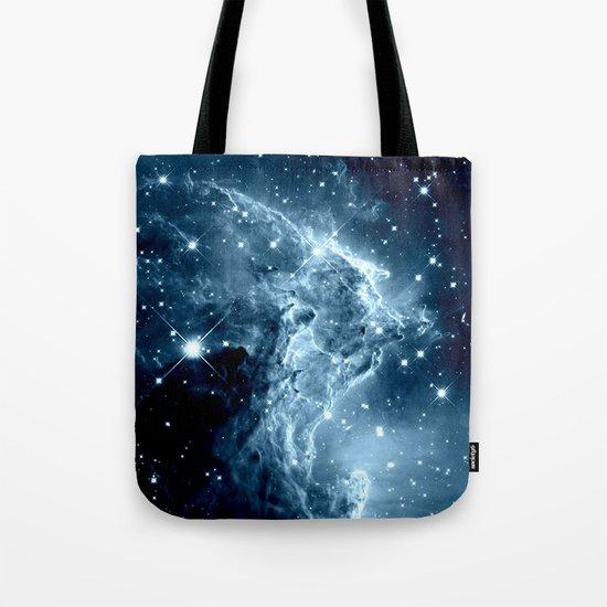Ice Blue Galaxy : Monkey Head Nebula Tote Bag