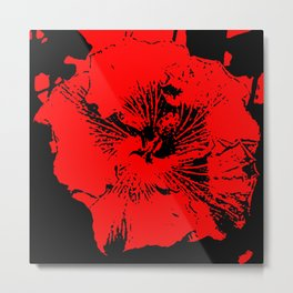 Abstract Red and Black Tropical Hawaiian Hibiscus Flower Metal Print