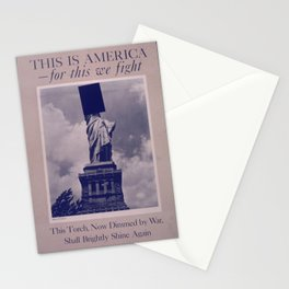 Vintage American World War 2 Poster - This is America: This Torch Shall Burn Brightly Again (1943) Stationery Cards