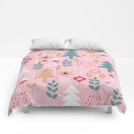Cute Christmas in pink Comforters
