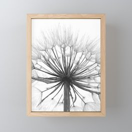 Black and White Dandelion Framed Mini Art Print