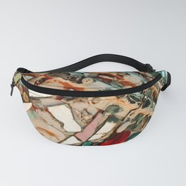 Abstract Mirror Button Baltimore Mosaic Print Fanny Pack