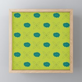 Floral pattern - green and teal Framed Mini Art Print