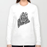 maine Long Sleeve T-shirts featuring Typographic Maine by CAPow!