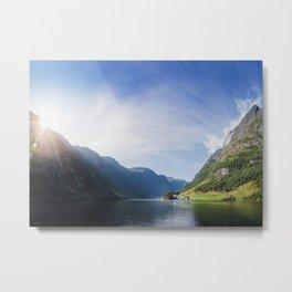 Sunrise over Fjord Village - Wide Panorama Metal Print