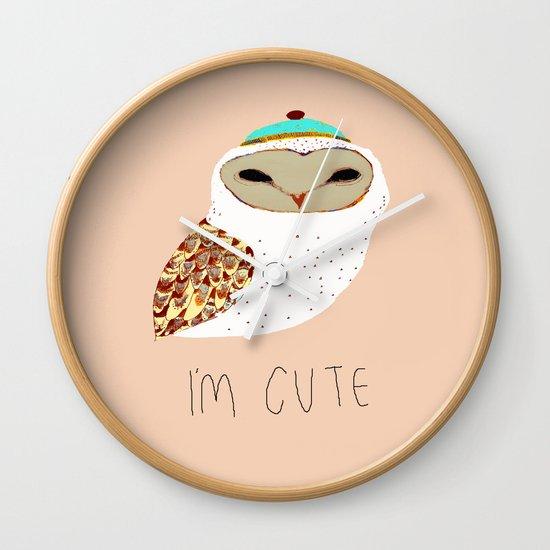 i'm cute owl illustration  Wall Clock