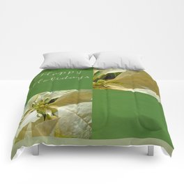 Pale Yellow Poinsettia 1 Happy Holidays Q5F1 Comforters