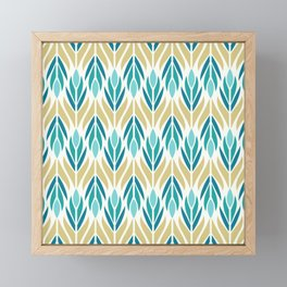 Mid Century Modern Abstract Floral Pattern in Turquoise Teal Aqua and Marigold Framed Mini Art Print