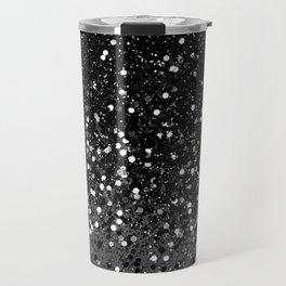 Dark Gray Black Lady Glitter #1 #shiny #decor #art #society6 Travel Mug